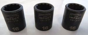 "Armstrong 46-316 16mm 3/8"" Drive 12 Point Impact Socket USA 3 Packs"