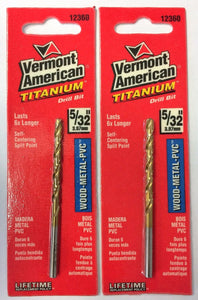 "Vermont American 5/32"" Titanium Split Point Drill Bit 12360 2PCS"