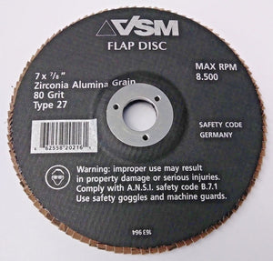 "VSM 163 964 7"" x 7/8"" Zirconia Alumina Grain 80 Grit Type 27 Flap Disc Germany"