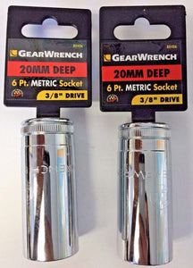 "GearWrench 80406 3/8"" Dr 6 Point Deep Metric Socket 20mm 2PCS"