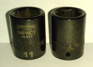 "Armstrong 45-011 1/4"" Drive 6 Point Impact Socket 11mm USA 2PCS"