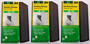 "3M CP-040NA  4-7/8"" x 2-7/8"" x 1"" Angled Sanding Sponge Fine Grit (Lot of 3) USA"