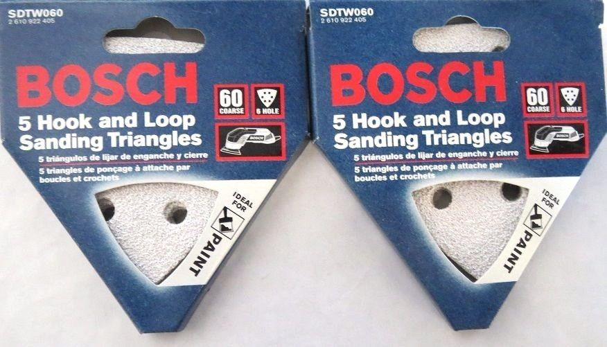 Bosch SDTW060 60 Grit H&L Detail Sanding Triangles White, 5-Pack Italy 2 Packs