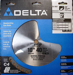 "Delta 35-7657 10"" x 40 Tooth Gen Purpose Carbide Saw Blade USA"