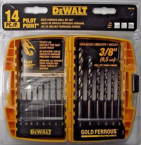 Dewalt DW1169 14 Piece Gold Ferrous Twist Drill Bit Set