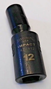 "Armstrong 47-112 1/2"" Drive 6 Point MAXX Impact Universal Socket 12mm USA"