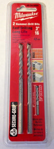 "Milwaukee 48-20-8805 3/16"" x 2"" x 4"" 3-Flat Secure-Grip Hammer Drill Bits 2 Pack"