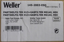 Weller 145-2003-ESD H13 Particle Filter And MEK Gas Filter MG140 Germany