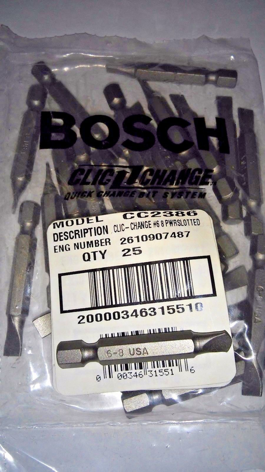 Bosch CC2386 #6 -8 Slotted Power Screw Bit Tips 25pcs. USA