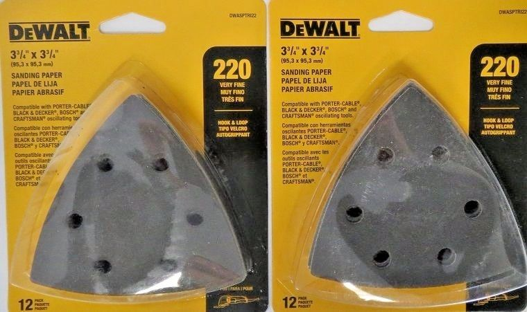 DEWALT DWASPTRI22 Hook And Loop Triangle 220 Grit Sandpaper 2-12 Packs