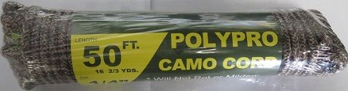 Polypro Camo Cord Rope 98483 50Ft x 1/4