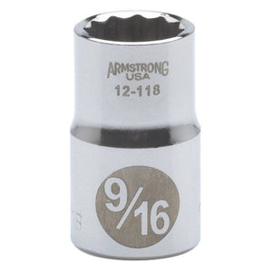 "Armstrong 12-118 1/2"" 9/16"" Drive 12 Point Standard Socket USA"