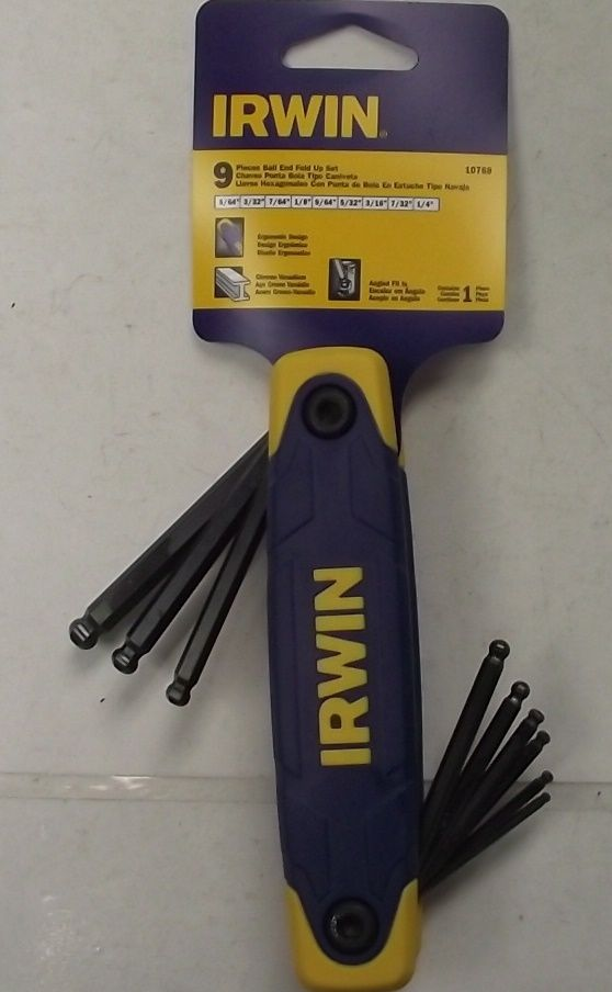 Irwin 10768 9pc. Folding Ball End Hex Key Set SAE 5/64 to 1/4