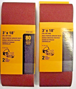 "Dewalt DWAB318080 2 Pack 3"" x 18"" 80-Grit Multi Purpose Abrasive Belts 2PKS"