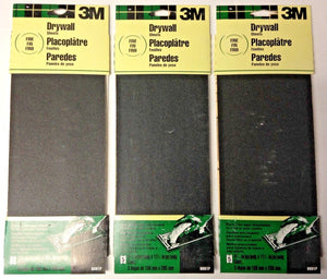 "3M 9091P 4-3/16"" x  11-1/4"" Fine Drywall Sanding Sheets 3 Packs of 5 (15 Sheets)"
