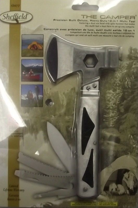 Sheffield 18077 The Camper Heavy Duty 12 in 1 Multi Tool With Axe Head