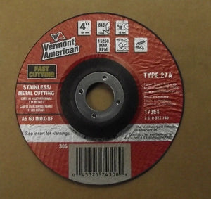 "Vermont American 17364 4"" x .040"" x 5/8"" Cut-Off Wheels Type 27 (25pcs) Germany"