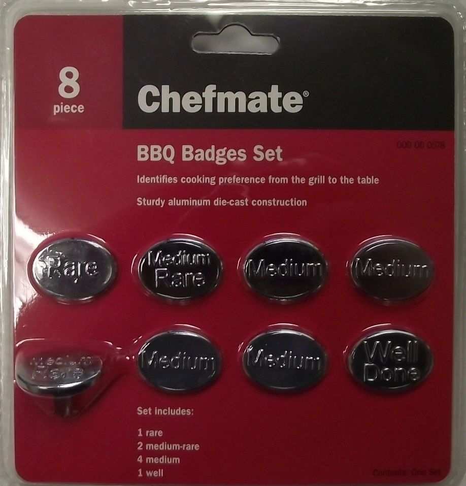 Chefmate 40163 BBQ Badges Cooked to Perfection Collection 8-Piece