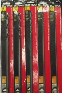 "Blu-Mol 6685-6675 5pc XL 12"" Long Black Oxide Drill Bits 3/16 to 1/2"""