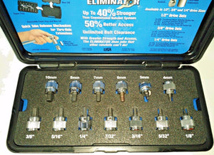 "Armstrong 13pc 3/8"" Dr Fractional / Metric Hex Bit Socket Set 16-290 5MH40 USA"