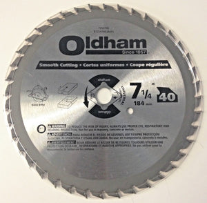 "Oldham 7254740 7-1/4"" x 40 Tooth Smooth Cutting Circular Saw Blade"