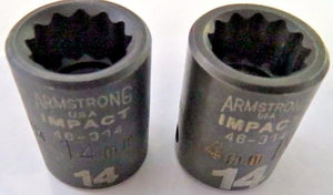 "Armstrong 46-314 3/8"" Drive 14mm Impact Socket 12pt. USA 2 Pieces"