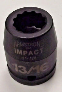 "Armstrong 21-126 13/16"" 12 Point 3/4"" Drive Impact Socket USA"