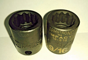 "Armstrong 19-818 3/8"" Drive 9/16"" Impact Socket 12 Point USA 2PCS"