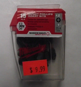 Milwaukee 48-32-5003 1-in Phillips #2 Shockwave Insert Screw Bit 15-Pack