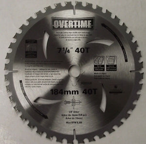 "Original Overtime 00506 7-1/4 x 40 Tooth Circular Saw Blade 5/8"" Arbor Japan"