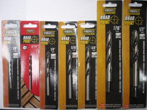 "Mibro 7 Piece Brad Point Drill Bits 1/8"" to 1/2"""