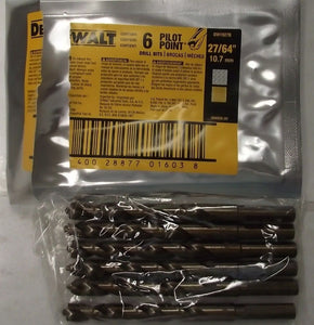 "Dewalt DW1927B 27/64"" Pilot Point Drill Bit 6pcs."