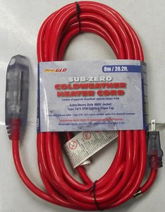 Century D19005429 26.2 FT. Sub Zero Heater Block Extension Cord Triple Lighted