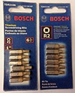 "Bosch TDR2106 R2 1"" Square Drive Titanium Screw Bit Tips 2- 6 Packs USA"