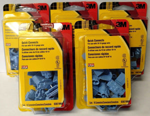 3M 03874NA Electrical Connectors 16 Blue Quick Connects 18-14 Gauge 5 Packs USA