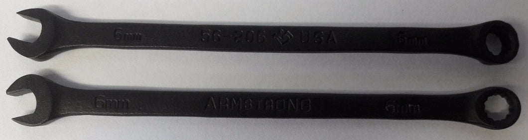 Armstrong 56-206 6mm Combination Wrench Black 12pt. USA 2pcs