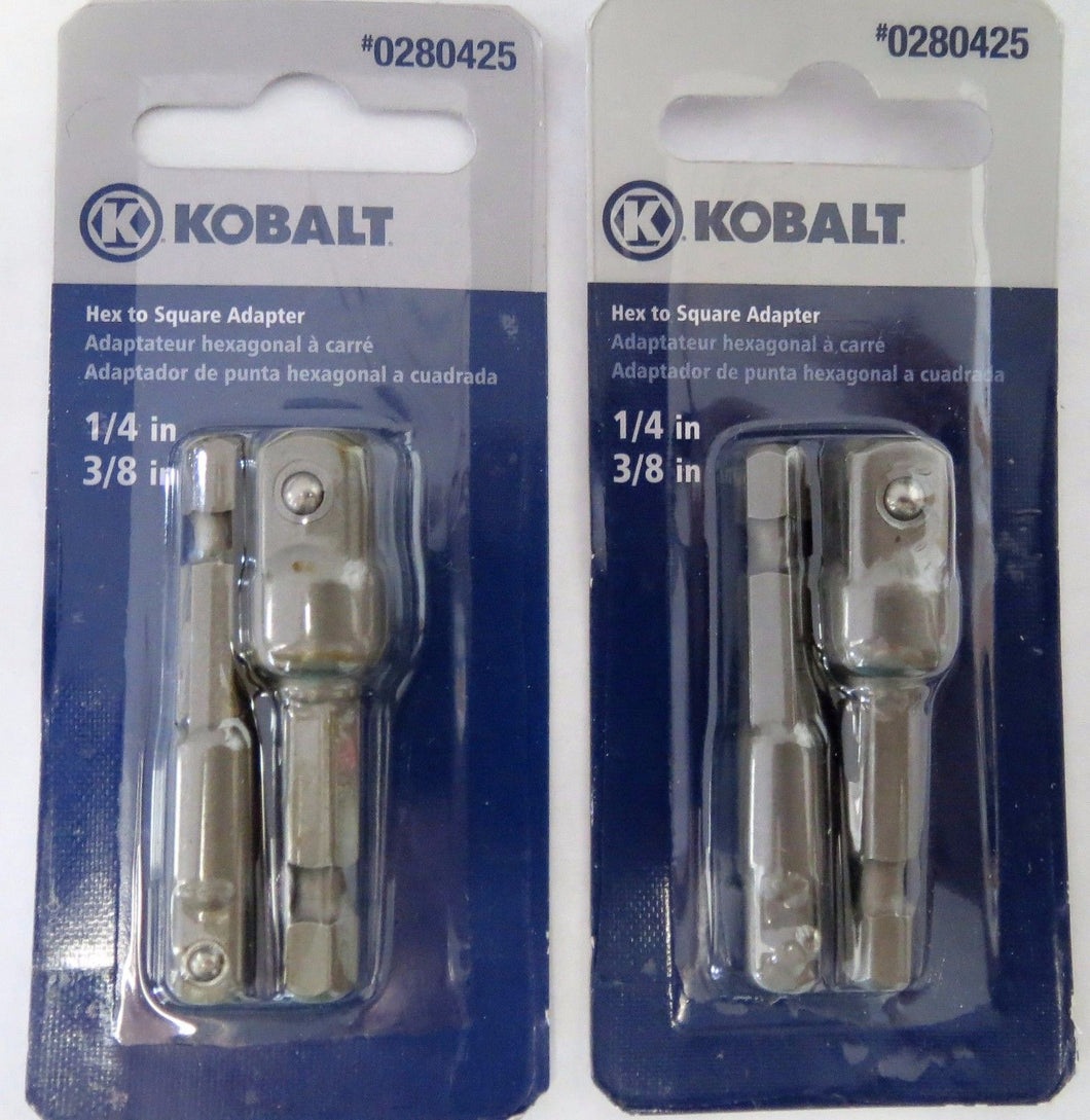 Kobalt 1873532 2 Piece Hex To Square Socket Adapters 1/4 - 3/8 2 Packs