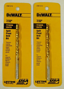 "DeWalt DW1314 7/32"" Titanium Coated Split Point Drill Bit USA 2PKS"