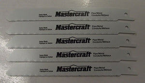 "Mastercraft by Bosch 6"" x 18tpi Bi-metal Recip Saw Blades Swiss 16-30210 5pcs."