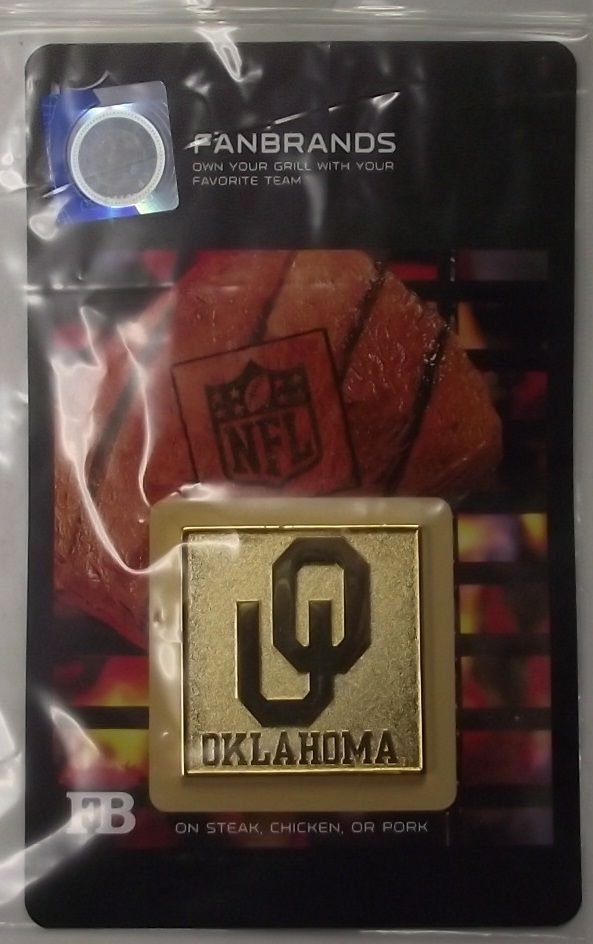 NCAA 10116 Oklahoma Sooners Logo Branding Plate FanBrand Barbecue Grill