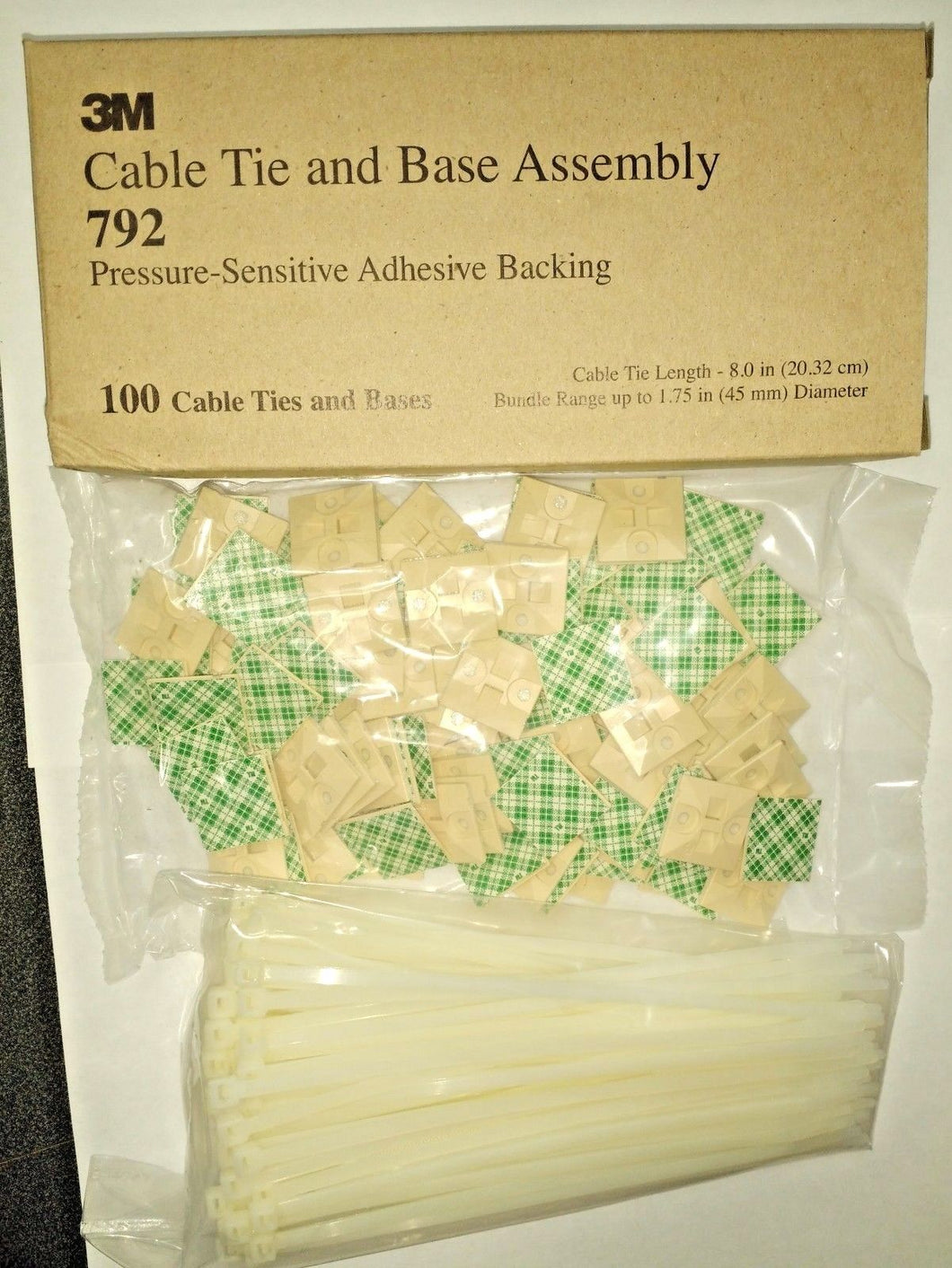3M Cable Tie And Mounting Base Assembly #792 100 Pieces USA