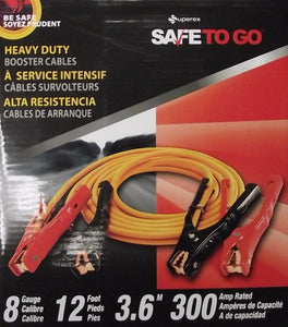 Superex SAFETOGO 40-506 Heavy Duty 8 Gauge 12 Foot 300 AMP Jumper Cables