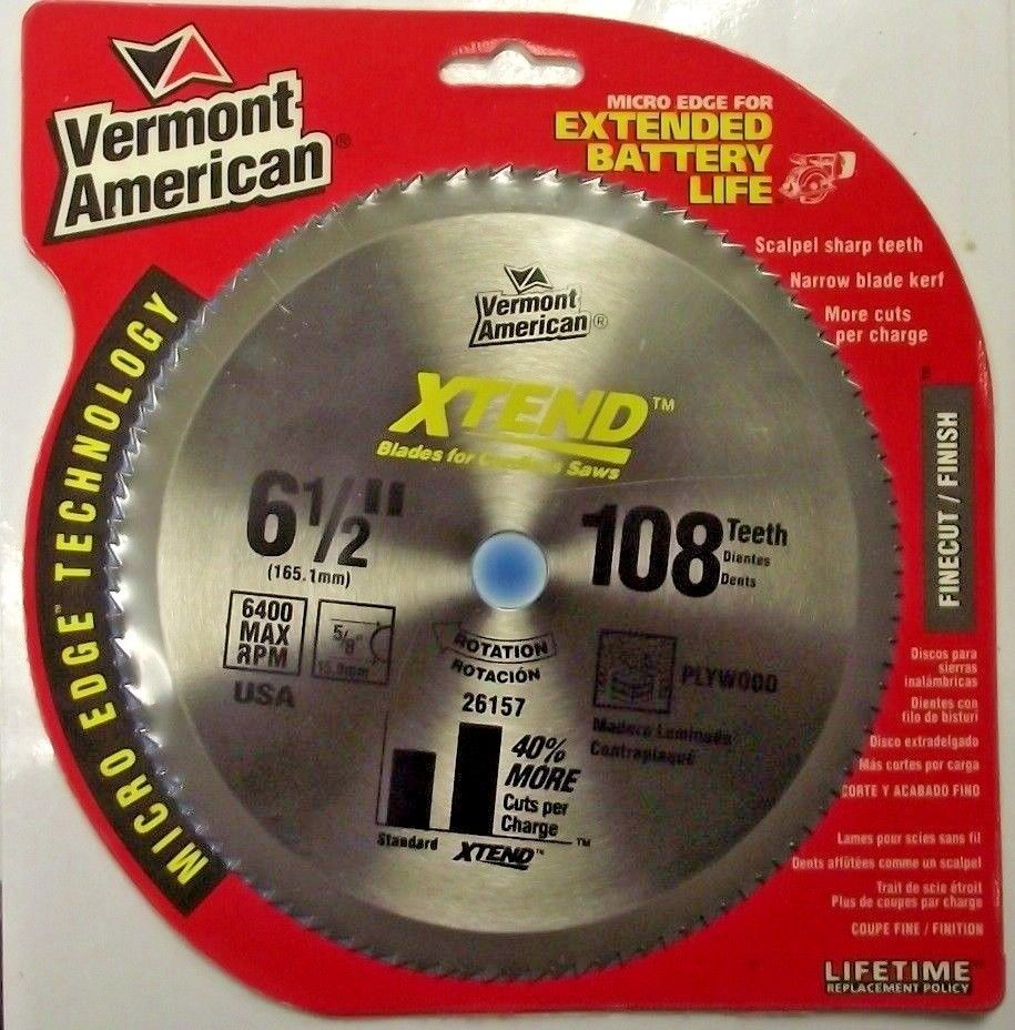 Vermont American 26157 6½ x 108 Teeth XTEND Cordless Saw Blade