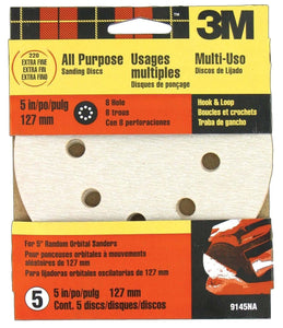 "3M 9145NA 5"" 220 Grit (Extra Fine) 8 Hole Hook & Loop Sanding Discs 5 Pack"