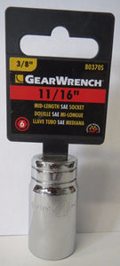 "GearWrench 80370S 3/8"" Drive Mid-Length 6 Point Socket 11/16"""