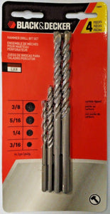 "Black & Decker 16840 4 Piece Hammer Drill Bit Set 3/16"" 1/4"" 5/16"" 3/8"""