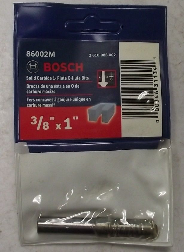 Bosch 86002M 3/8 In. x 1 In. Solid Carbide 1-Flute O-Flute Router Bit