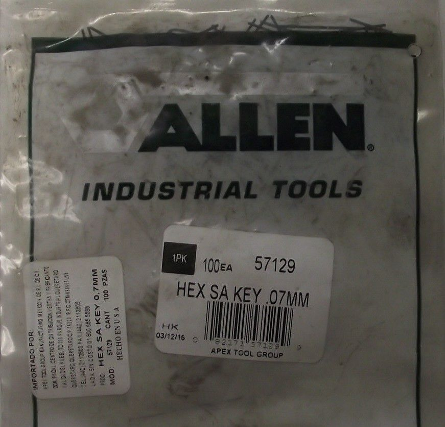 ALLEN TOOLS 57129 0.7mm 100 Pack Hex Wrench 1-1/4 Inch Long Metric USA
