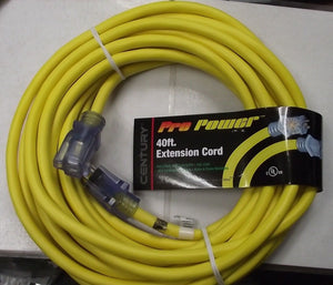 Century Pro Power D16612040 12/3 40ft Heavy Duty Lighted Extension Cord