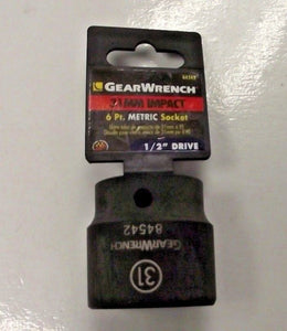"Gearwrench 84542 1/2"" Drive 6 Point Standard Impact Metric Socket 31mm"